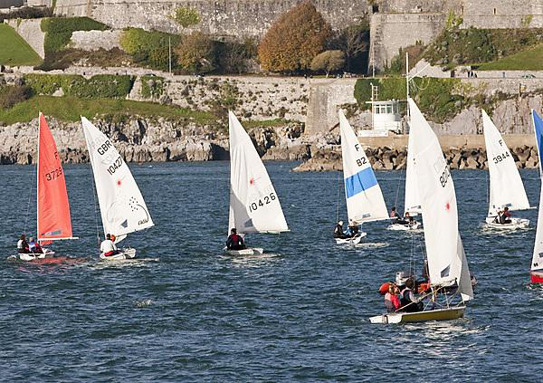 BUCS National Fleet Racing Sailing Championships. Mount Batten Centre. Plymouth Sound. University of Plymouth dinghy sailing scholars. Sophie Mckeenem, Charlotte Greenhalgh, Anna Piggot, Oscar Mcveigh, Peter McCoy and James Spencer.